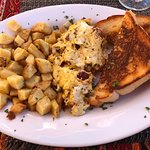 Daily scramble with hash browns and toast