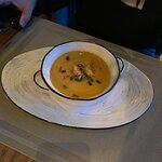 Тыквенный крем суп с креветками, очень сочные креветки