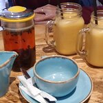English breakfast tea and fruit smoothies
