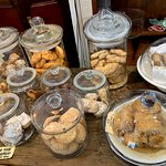 A variety of home made biscuits/cookies to eat here or take away.