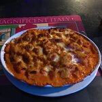 The baked ziti came in a largebdish, served bubbling hot, and loaded with cheese, pasta, and sau