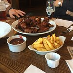 Chicken wings and chips, lovely