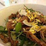 Spiced cod with onion bhaji.