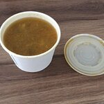 Vegetable soup as it is served.