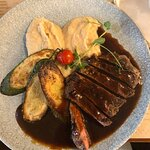 Flank steak with parsnip purée and grilled courgette