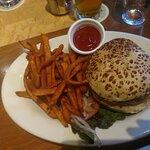 Veggie Burger and Sweet Potato Fries