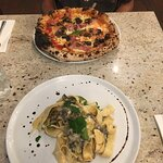 This is the fungi pasta i love and the ham and mushroom pizza
