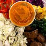 Chicken, Basil Tomatoes, Cilantro Cabbage, Tumeric Cauliflower, Kale & Balsamic Mushrooms with a