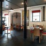 Inside the socially distanced restaurant