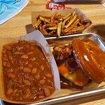 Beef Brisket sandwich, cowboy beans, and seasoned fries