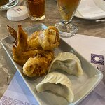 Fried wings with vegetable dumplings