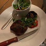 The steak was overcooked as I asked for medium. Plus with very poor a side salad.
