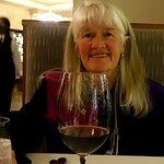 Enjoying her anniversary dinner