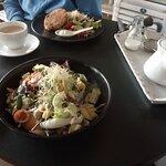 Salmon Patties Salad & Chicken & Mango Salad.
