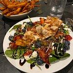 Small Power Salad with Salmon & Sweet Potato Fries
