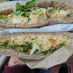 Curry egg mayo sandwich--jumbo and super-tasty!!