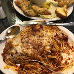 Parmesan knots and baked spaghetti. This is a ton of food with supreme flavor!