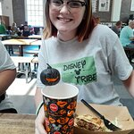 Natalie had the angus burger with fries. She said it was very good. The Jack O'Lantern Straw was
