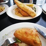 fish and chips with battered barramundi