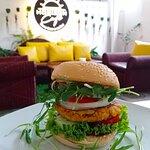 Vegetable Burger with big sald. How nice !!