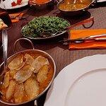 Prawns Dopiaza, Rice with Spinach, Chicken Tikka Masala, Chicken Curry