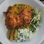Buttermilk fried chicken with lentil dhal