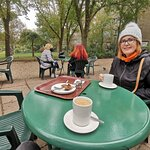 Saturday 10th October 2020. Pavilion Gardens Cafe, Brighton. Here having a snack before going in