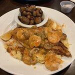 Cajun Catfish with sautéed mushroom side. Outstanding!
