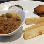 My wife's picadillo with plantains and yucca with a dipping sauce