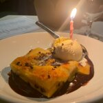 Gooey cake with a birthday candle!