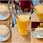 Orange juice and latte