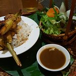 Main - Chicken skewers with a delicious sauce & sald