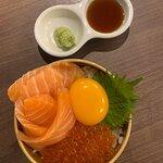 mini salmon don with ikura and egg