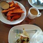 Sweet potato fries, fish taco, coffee!