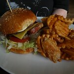 Beef and bacon burger with hashtag fries