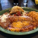 3 piece combo (two enchiladas, one taco, plus rice & beans). Delicious.