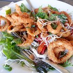 Already half way through this salad with calamari and crispy rice noodles