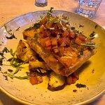 Fish & creamy leeks in a filo with crispy roast potatoes and tomato salsa
