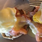 eggs Benedict on a tiny English muffin