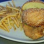 Chicken sandwich with seasoned fries