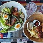 Salmon salad and Meatballs