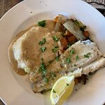 Lake trout with mashed potatoes and grilled vegetables