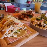 Chili BBQ wings, Cheese nachos, Grilled shrimp tacos