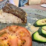 Bacalao a baja temperatura con parmentier y verduras a la brasa.