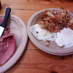 Country ham, eggs over easy, potatoes