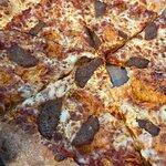 Small meatball pizza, yum!