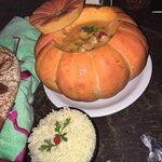 Camarão na moranga. Acompanha arroz.
