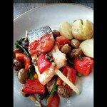Salmon and Mediterranean vegetables lovely.