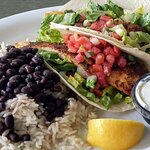 Fish taco meal.