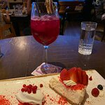 Dragonfruit cocktail and NY cheescake